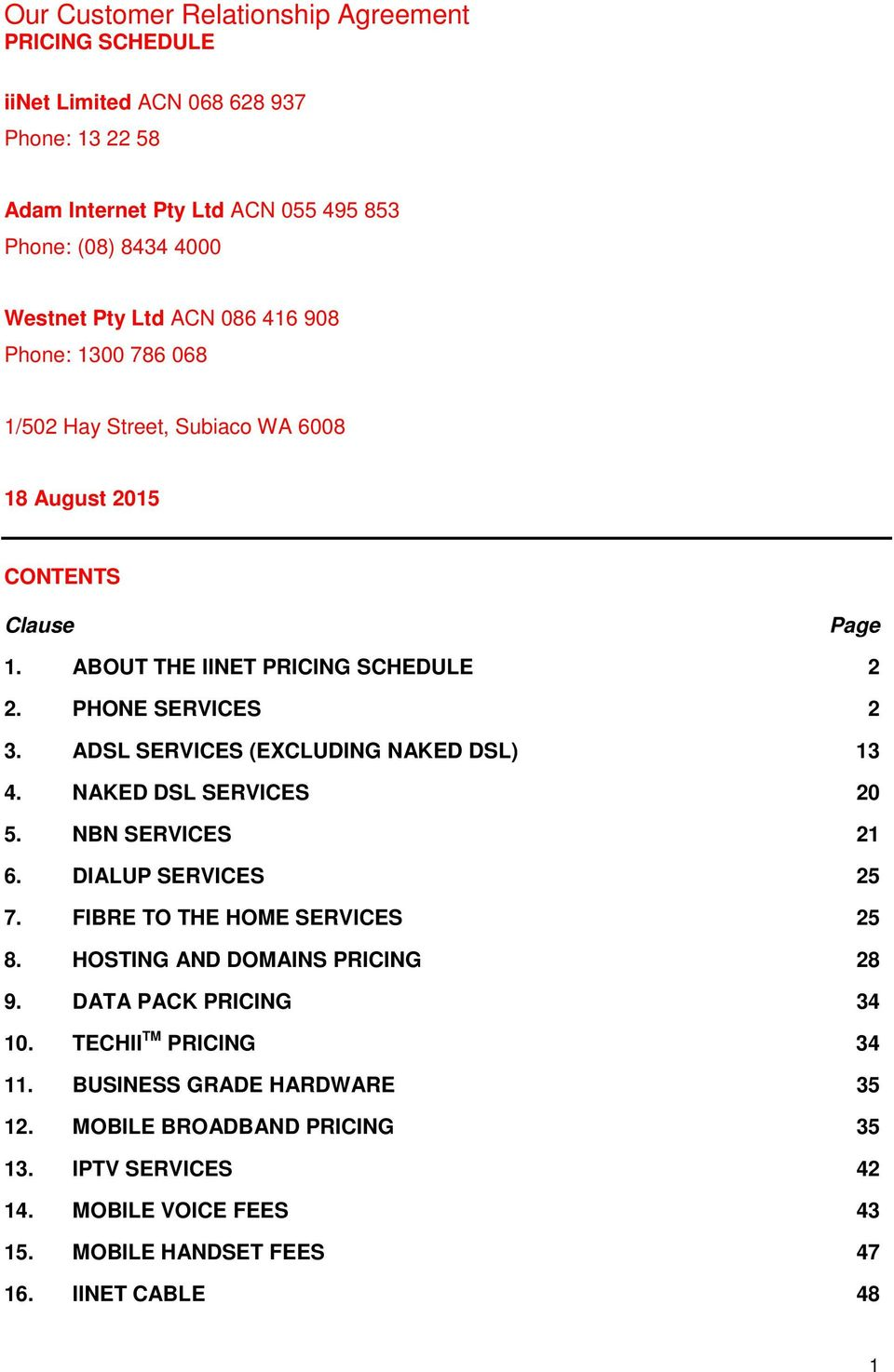 Our Customer Relationship Agreement PRICING SCHEDULE - PDF