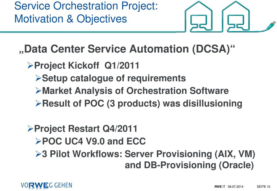 Software Result of POC (3 products) was disillusioning Project Restart Q4/2011 POC UC4 V9.