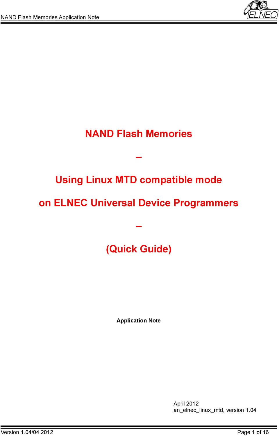 NAND Flash Memories  Using Linux MTD compatible mode  on
