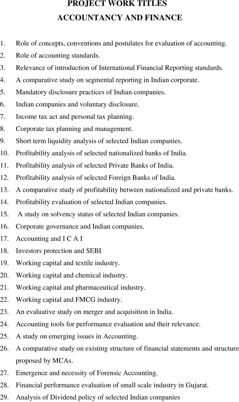 M COM SEMESTER IV PROPOSED PROJECT WORK TITLES COMMERCE FACULTY