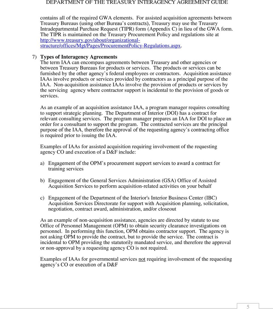 Department Of The Treasury Interagency Agreement Guide
