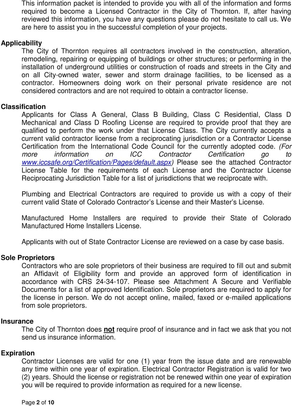 Contractor License Information And Forms Pdf