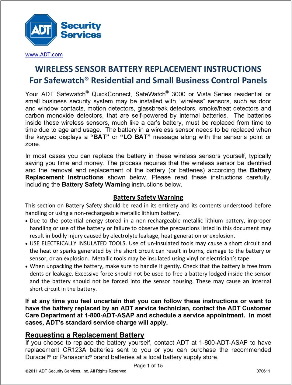Wireless Sensor Battery Replacement Instructions For Safewatch