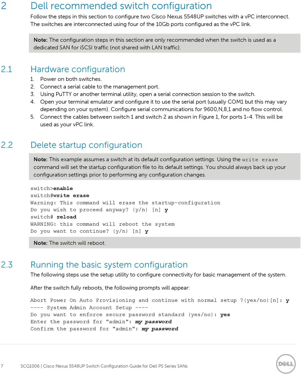 Cisco Nexus 5548UP  Switch Configuration Guide for Dell PS