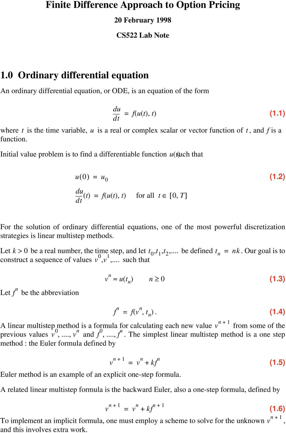 Finite Difference Approach to Option Pricing - PDF