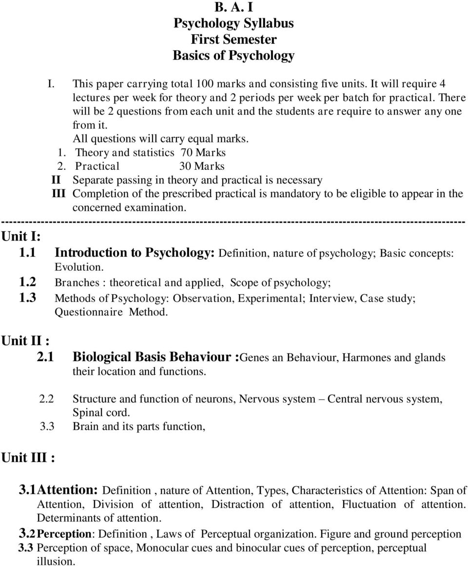 B  A  I Psychology Syllabus First Semester Basics of