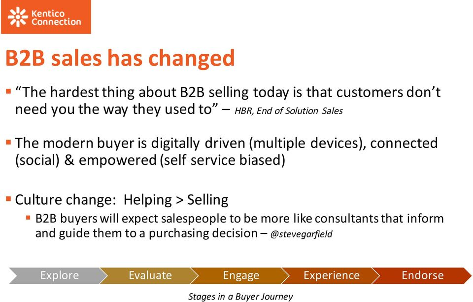 service biased) Culture change: Helping > Selling B2B buyers will expect salespeople to be more like consultants that