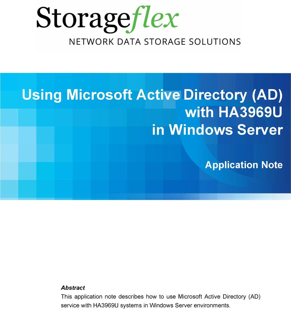 note describes how to use Microsoft Active Directory (AD)