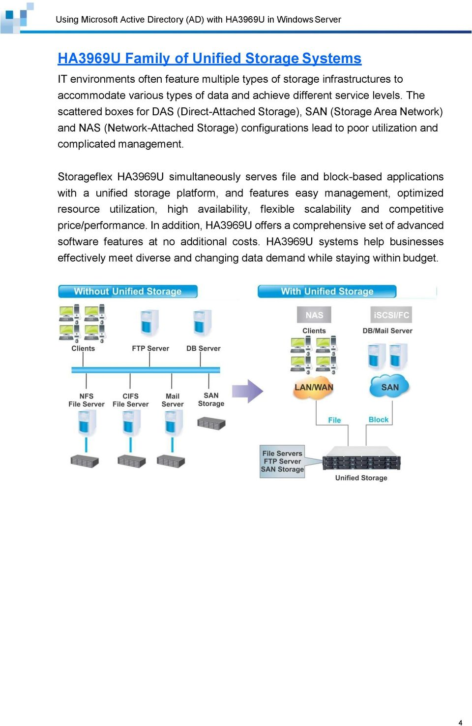 Storageflex HA3969U simultaneously serves file and block-based applications with a unified storage platform, and features easy management, optimized resource utilization, high availability, flexible