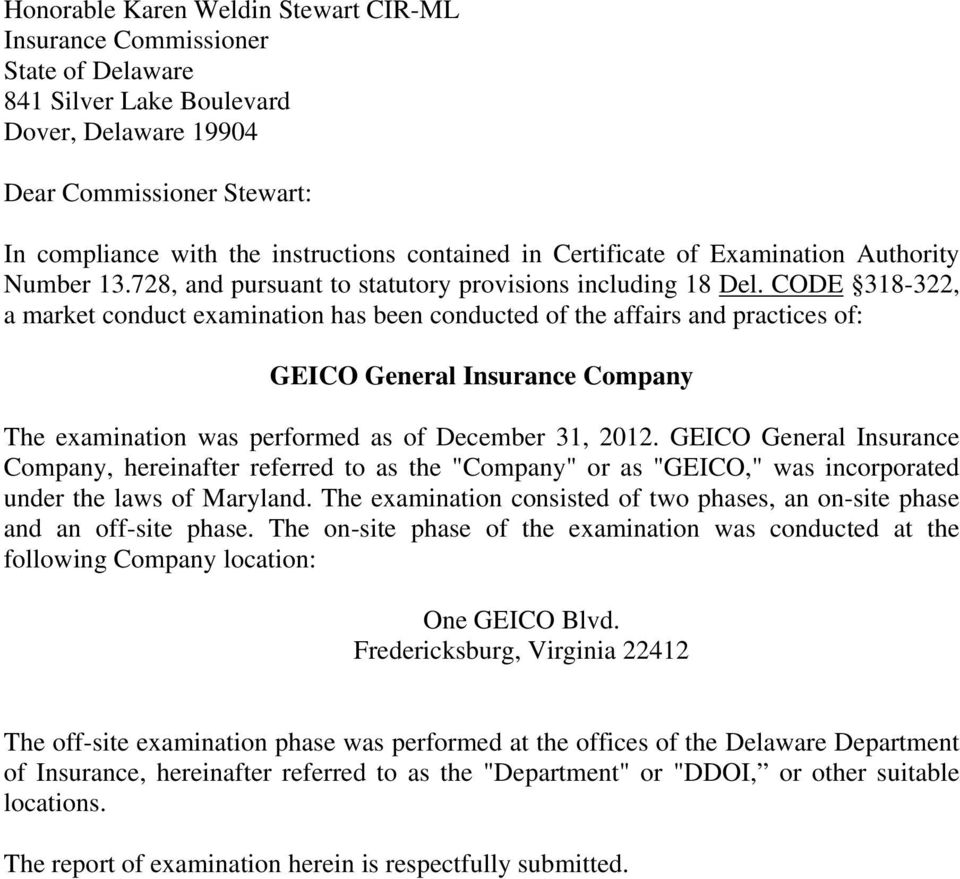 Delaware Department Of Insurance Market Conduct Examination Report