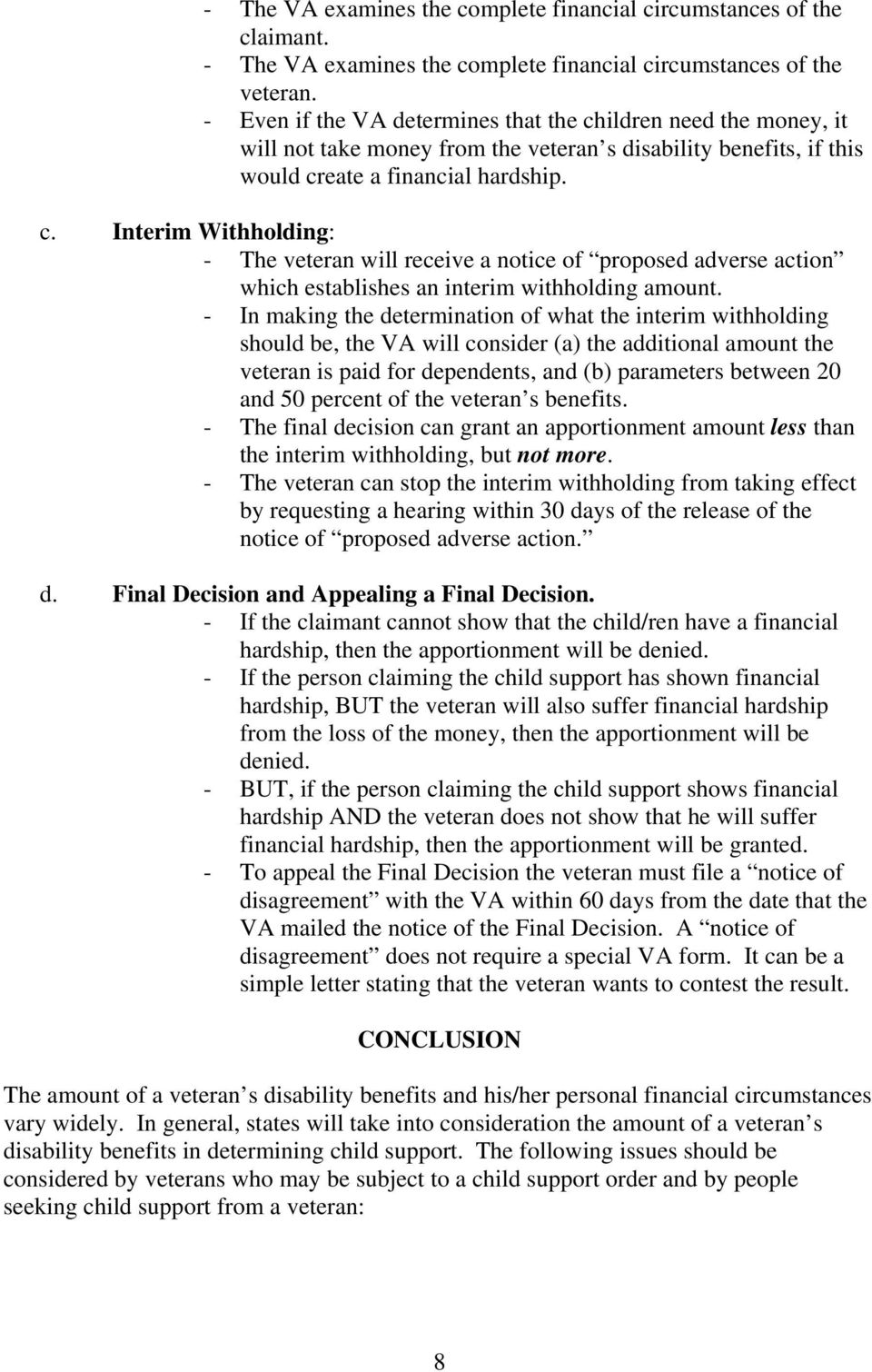 VETERANS BENEFITS AND CHILD SUPPORT - PDF