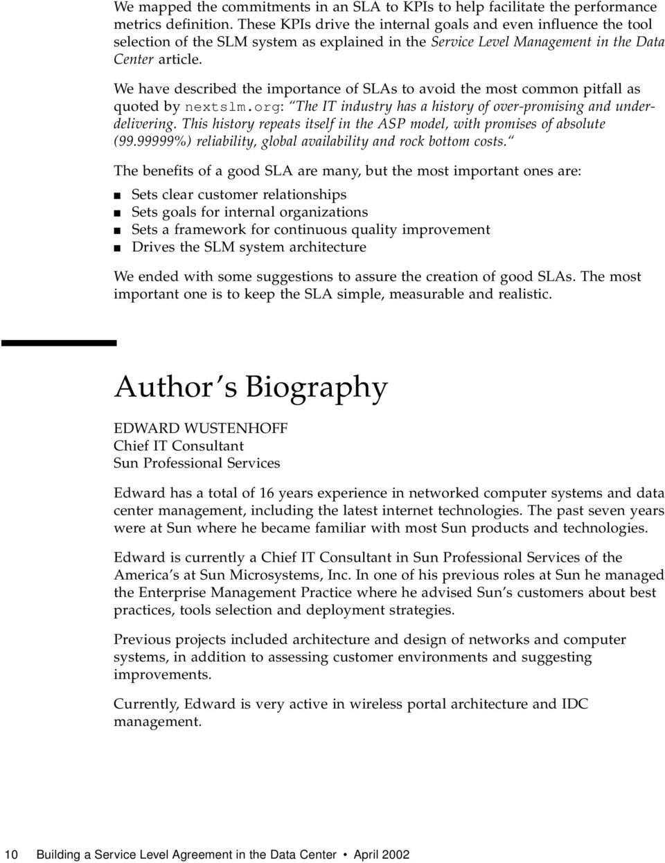 Service Level Agreement in the Data Center - PDF