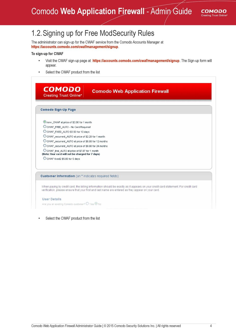 Comodo Web Application Firewall Software Version PDF