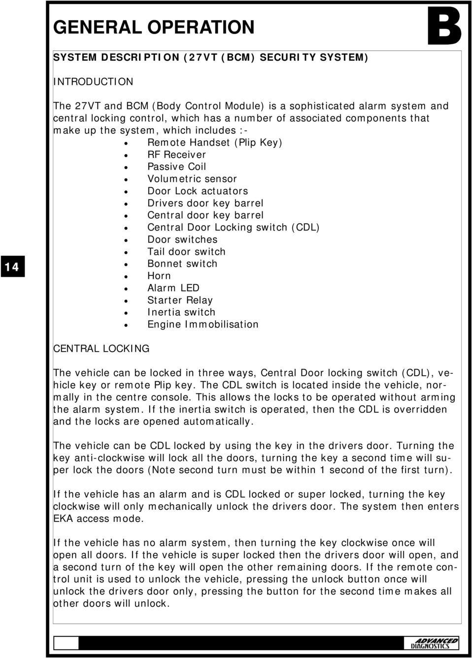 LAND ROVER MANUAL CONTENTS APPLICATIONS GENERAL OPERATION SPECIAL