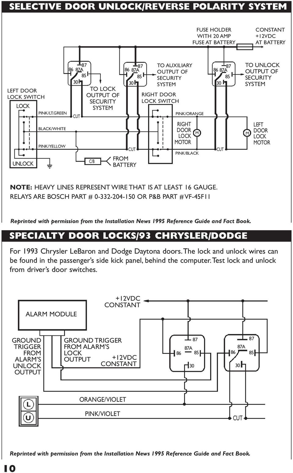 David Levy Company Inc Pdf 1995 Chrysler Lebaron Fuse Diagram Wiring Schematic Unlock Of Security System M Left Door Lock Motor Note Heavy Lines Represent Wire That
