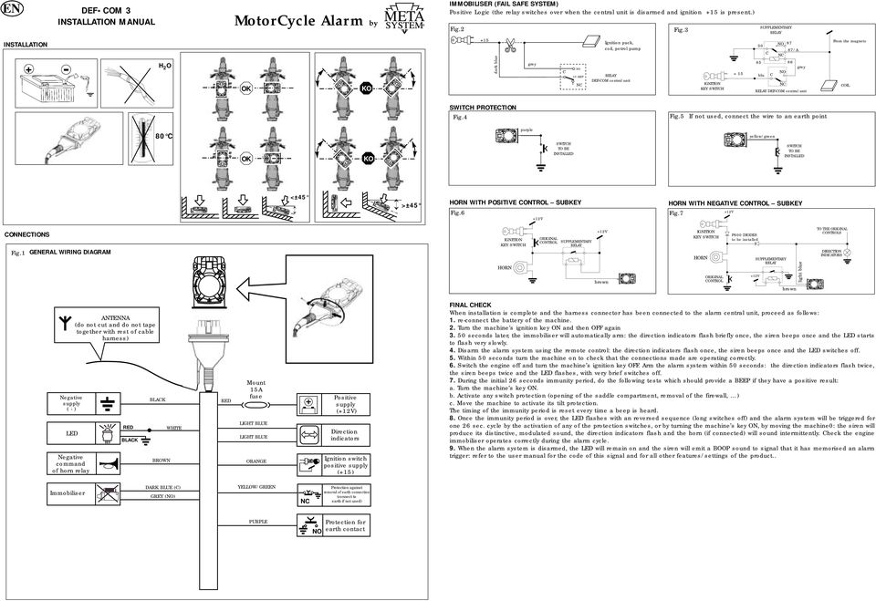 Motorcycle Alarm By Def Com 3, Datatool System 3 Wiring Diagram