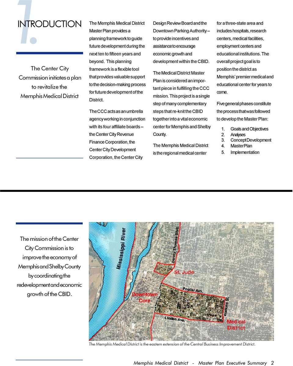 CCC  THE MEMPHIS MEDICAL DISTRICT MASTER PLAN for the CENTER