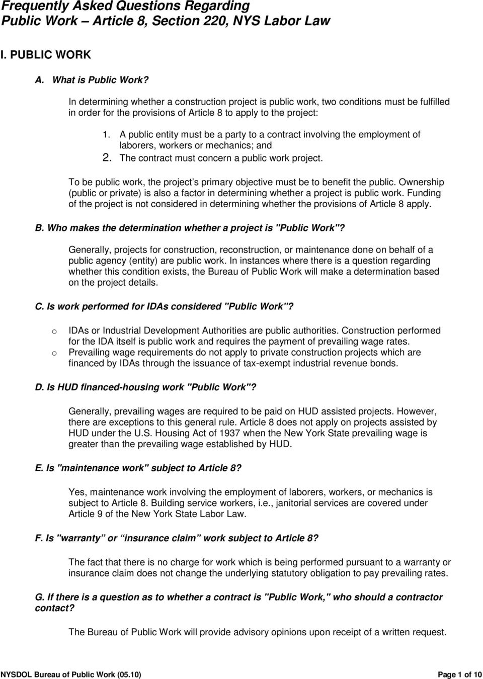 Frequently Asked Questions Regarding Public Work Article 8