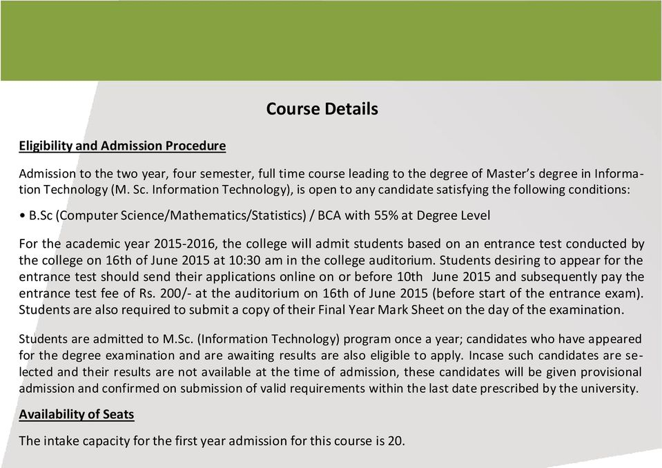 Master of Science in Information Technology (MSc-IT