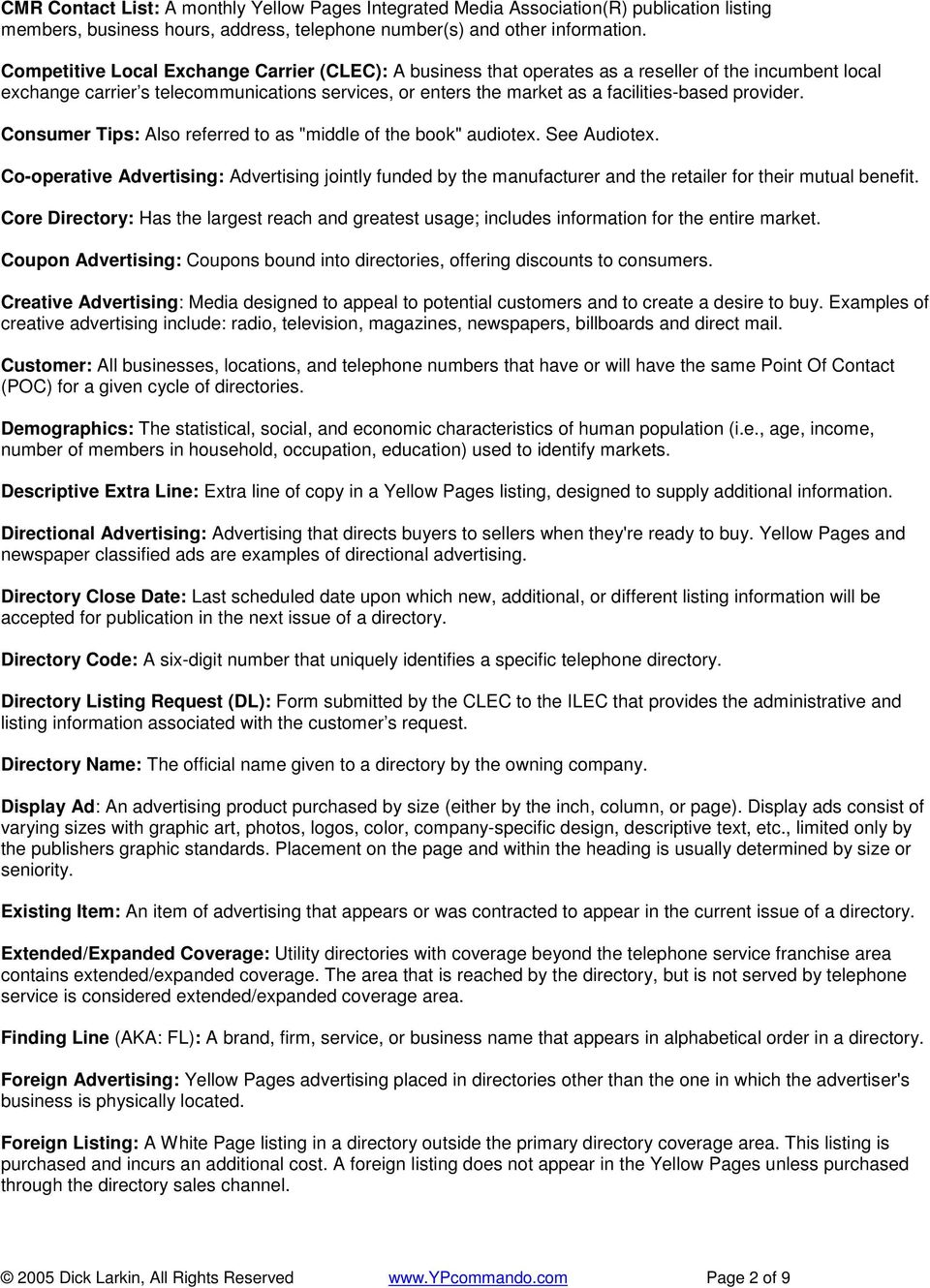 GLOSSARY OF YELLOW PAGES TERMS - PDF