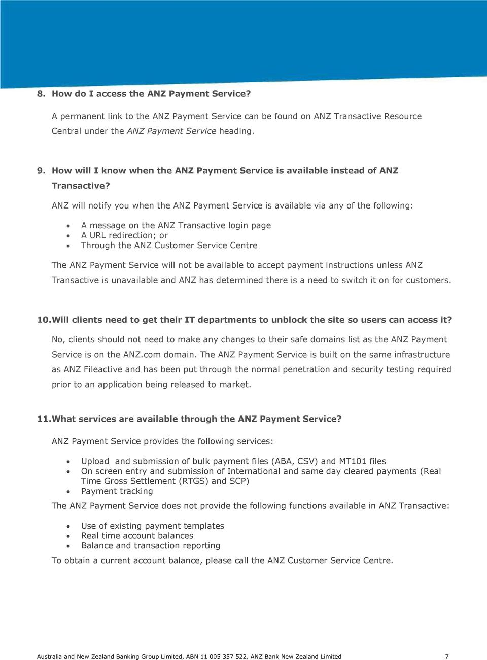 ANZ PAYMENT SERVICE FREQUENTLY ASKED QUESTIONS September PDF