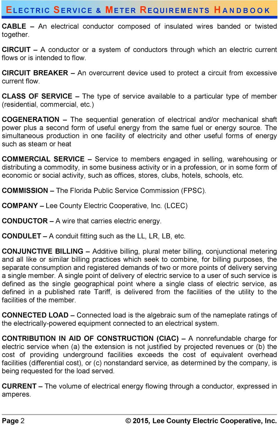 ELECTRIC SERVICE AND METER REQUIREMENTS - PDF