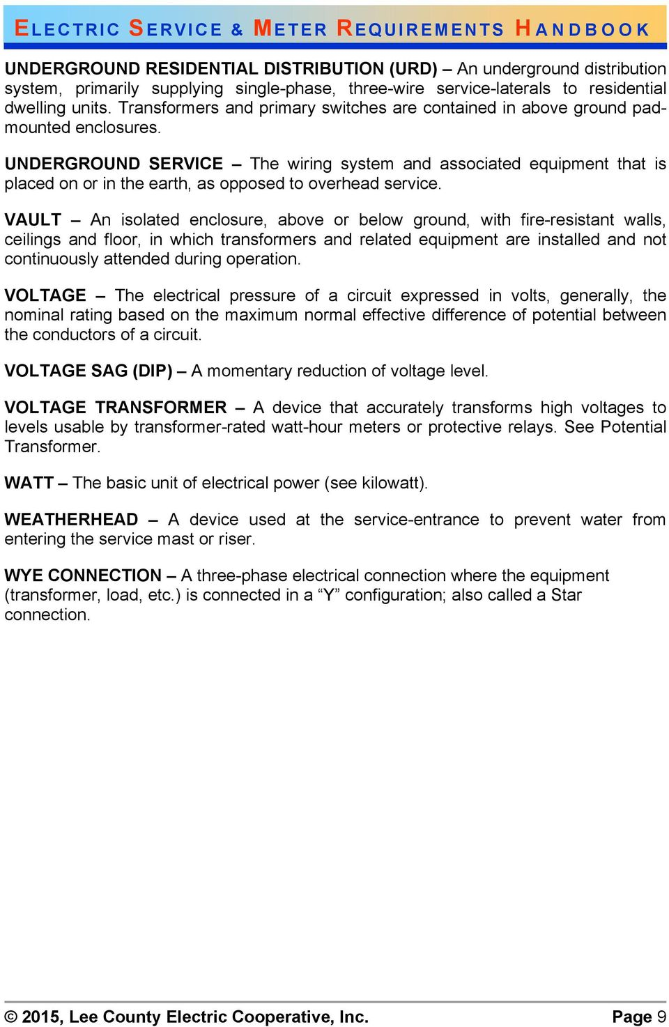 Electric Service And Meter Requirements Pdf Residential Wiring Voltage Underground The System Associated Equipment That Is Placed On Or In Earth