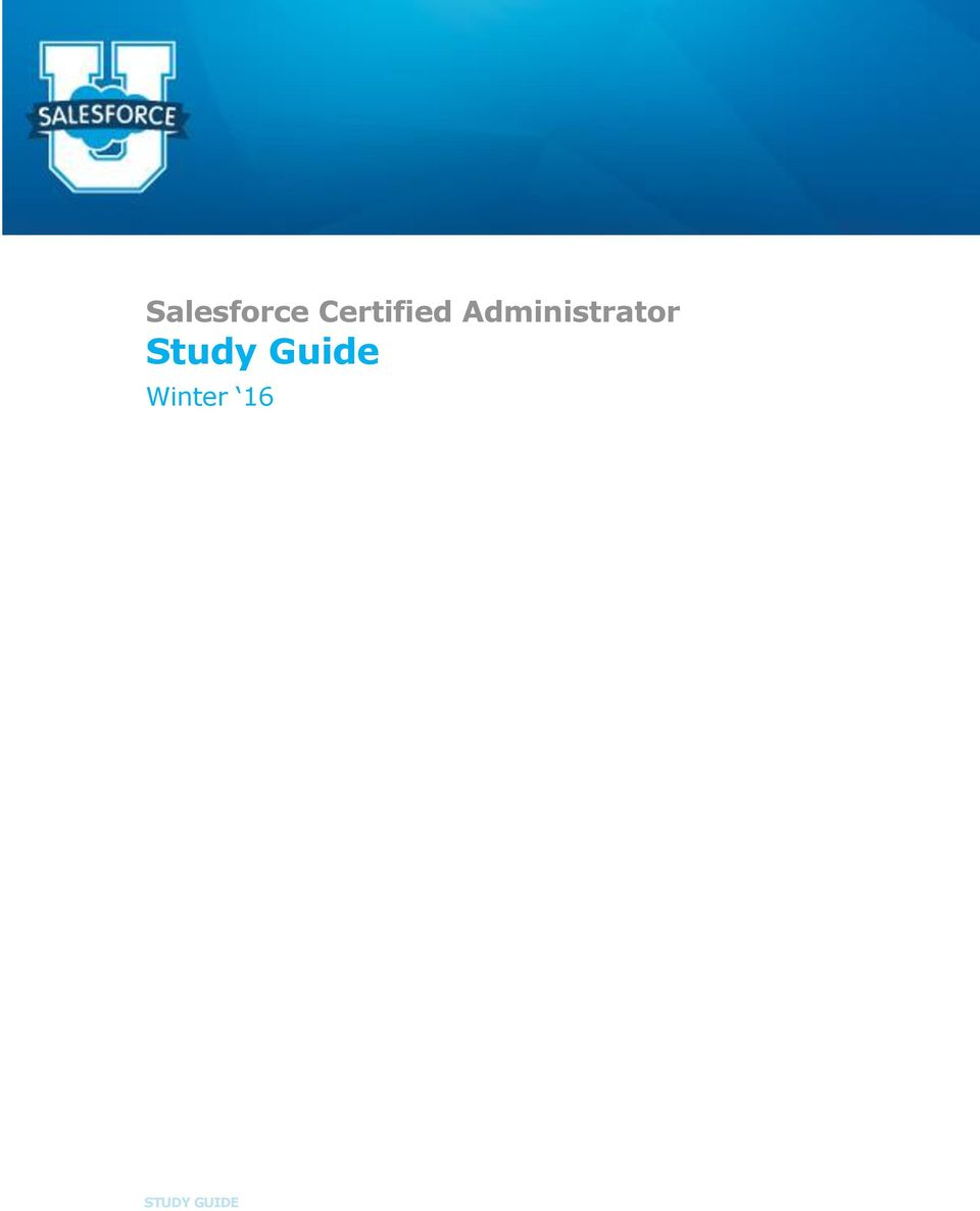 2 Contents ABOUT THE SALESFORCE CERTIFIED ADMINISTRATOR PROGRAM... 1  SECTION 1. PURPOSE OF THIS STUDY GUIDE... 1 SECTION 2. AUDIENCE  DESCRIPTION: SALESFORCE ...