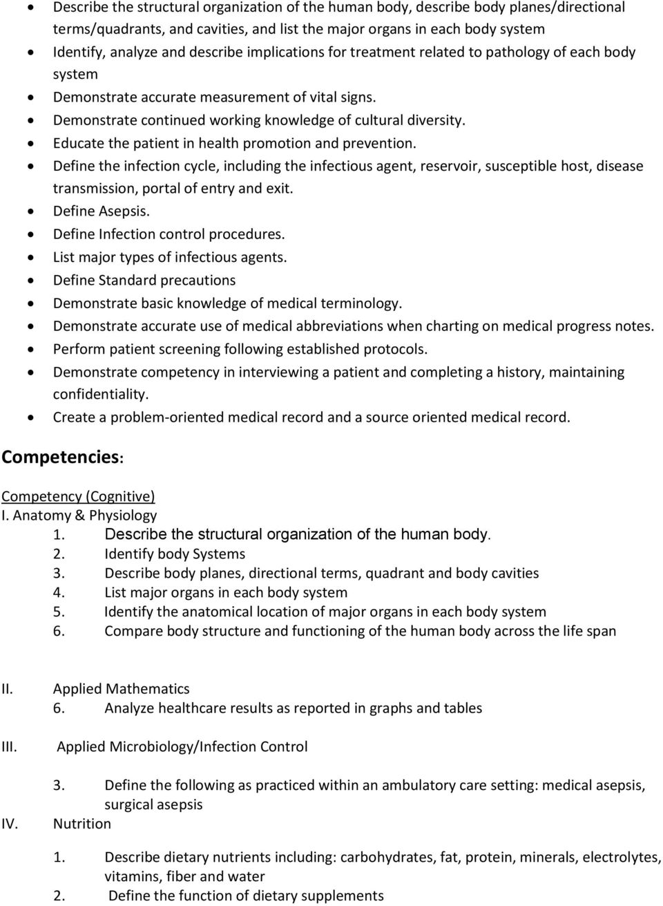 Course Title: Medical Assistant Clinical Procedures 1