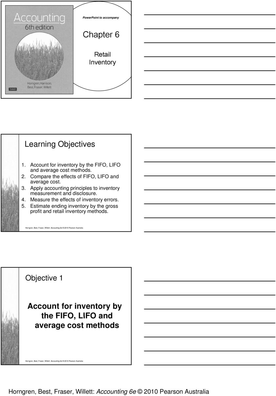 Chapter 6  Learning Objectives  Account for inventory by the
