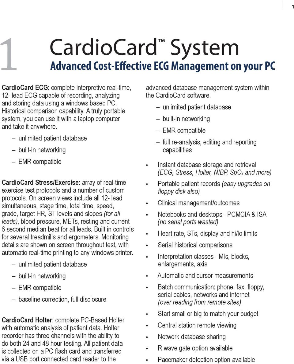 CardioCard System  Product Specification and Sample Reports