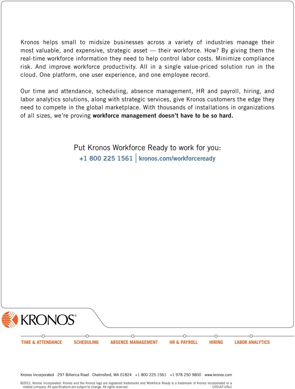 Kronos  Workforce Ready for small and midsize businesses  It