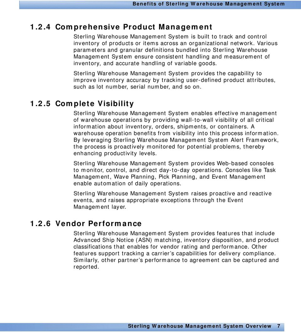 Sterling Warehouse Management System: Overview  Release PDF