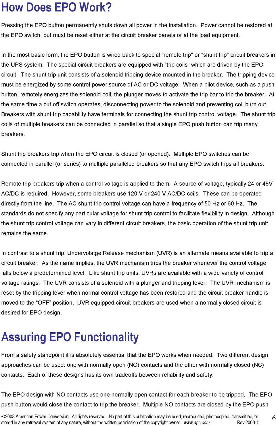Understanding Emergency Power Off Epo Pdf Trip Breaker Wiring Diagram Moreover Shunt Circuit In The Most Basic Form Button Is Wired Back To Special Remote 7 Multiple Breakers