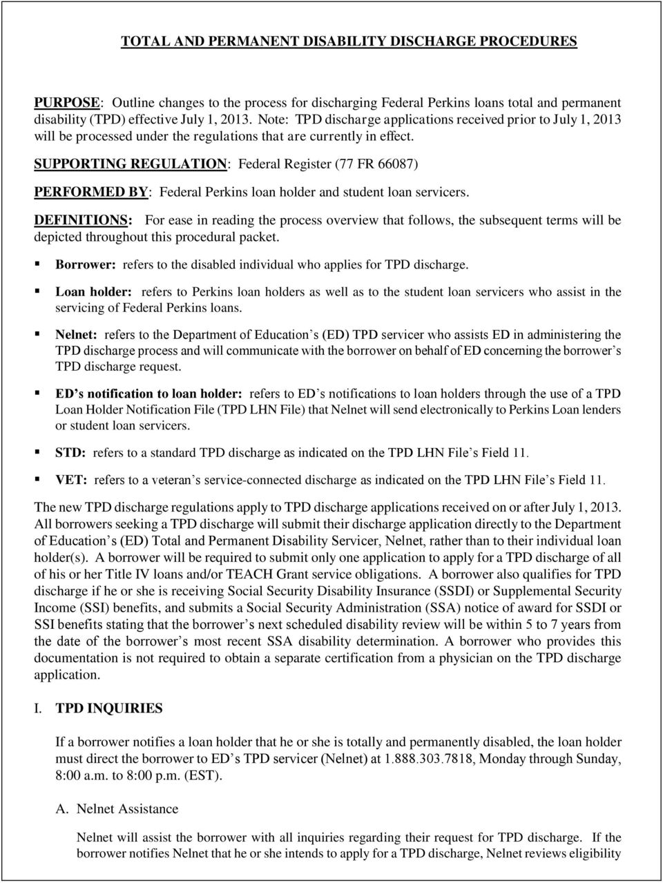 Total And Permanent Disability Discharge Procedures Pdf