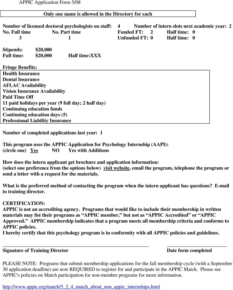Appic Membership Application Part I Face Sheet Return To Connie