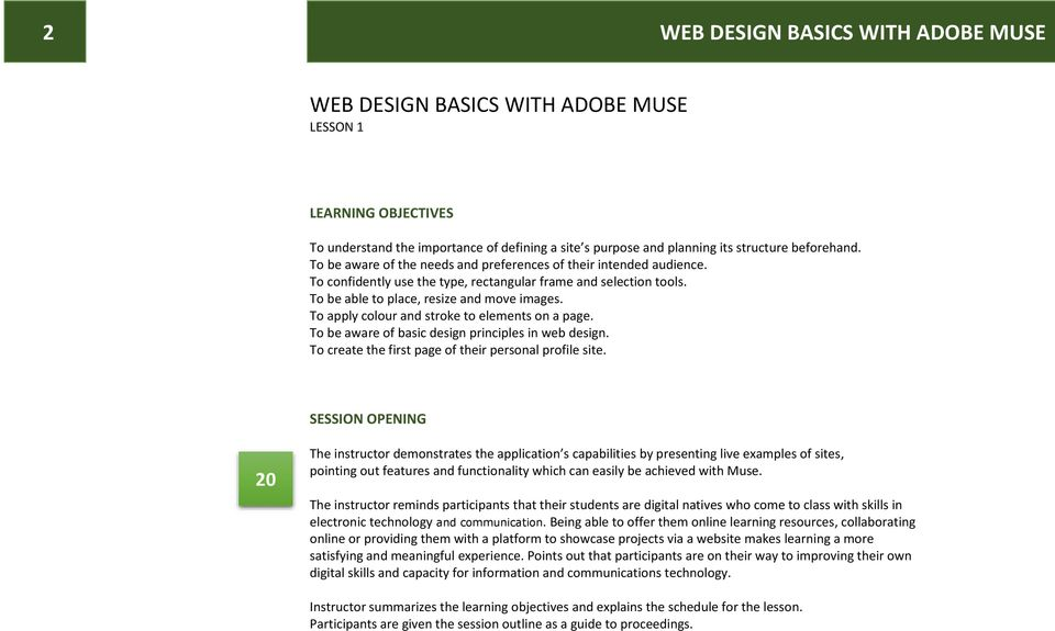 WEB DESIGN BASICS WITH ADOBE MUSE Cordei Clottey, IT-Trainer