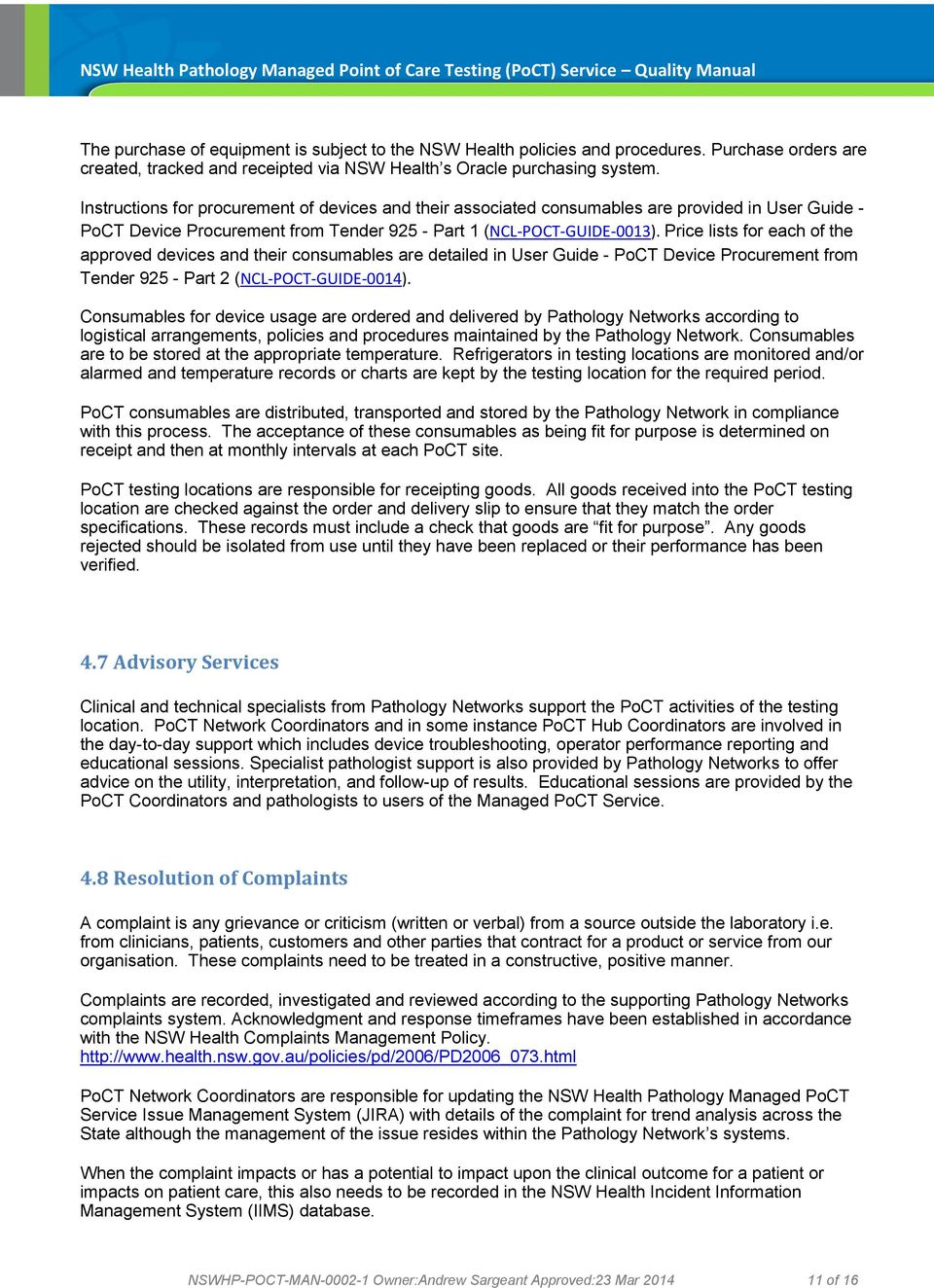 NSW Health Pathology Managed Point of Care Testing (PoCT) Service