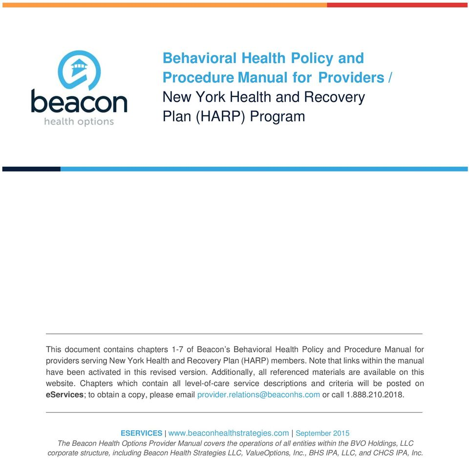 Behavioral Health Policy And Procedure Manual For Providers New
