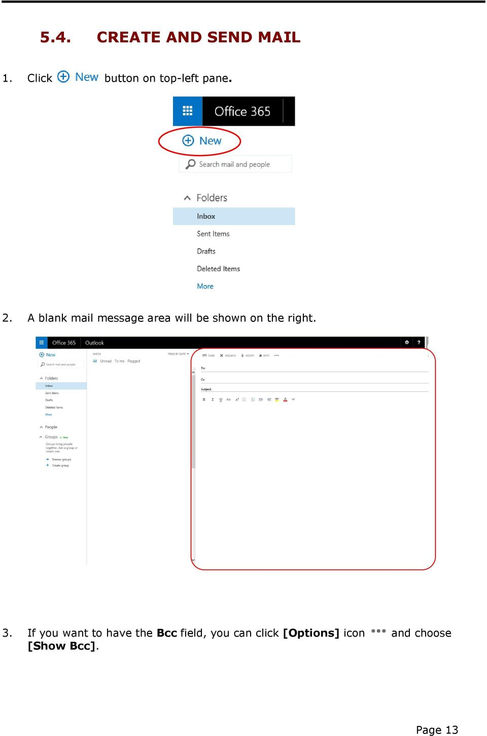 A blank mail message area will be shown on the right.