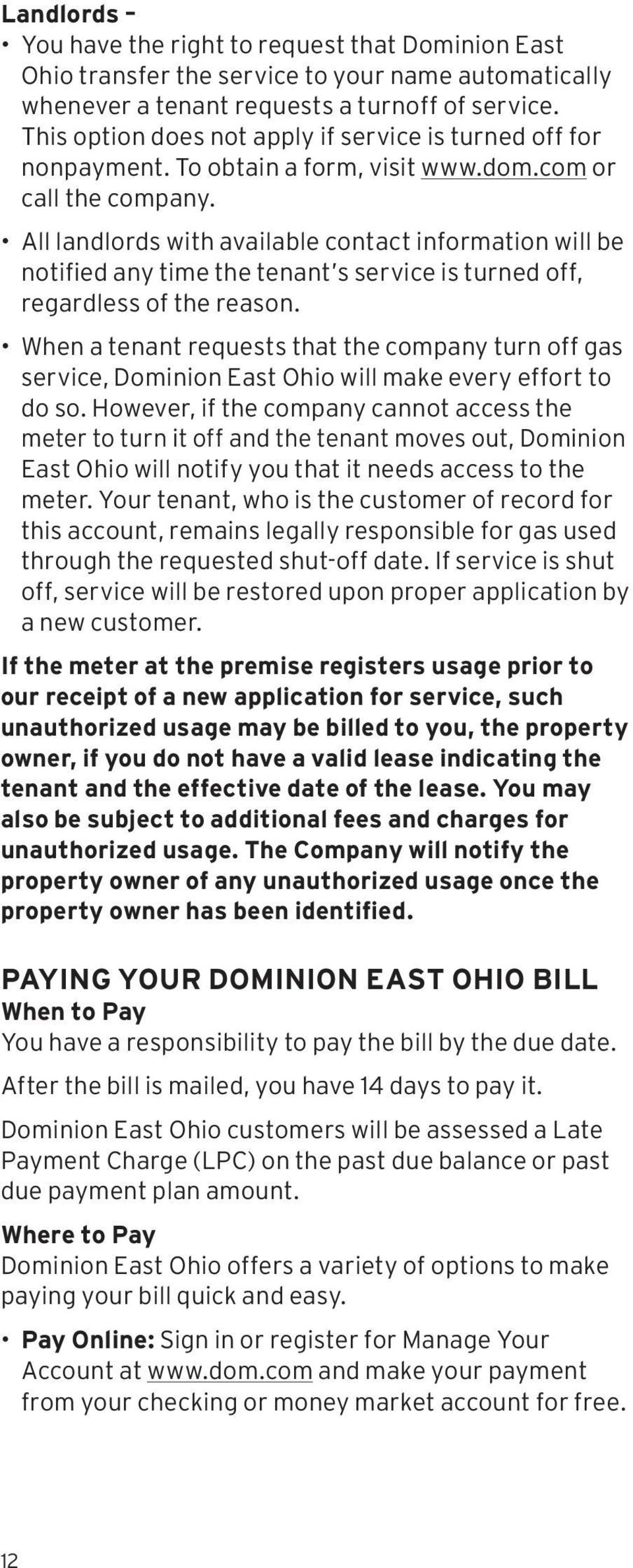 Your Rights & Responsibilities as a Dominion East Ohio