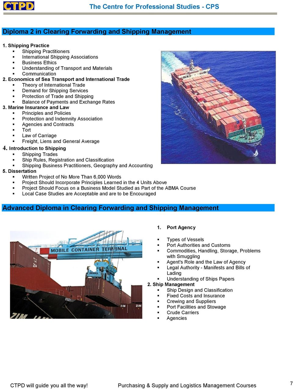 PURCHASING & SUPPLY AND LOGISTICS MANAGEMENT COURSES - PDF