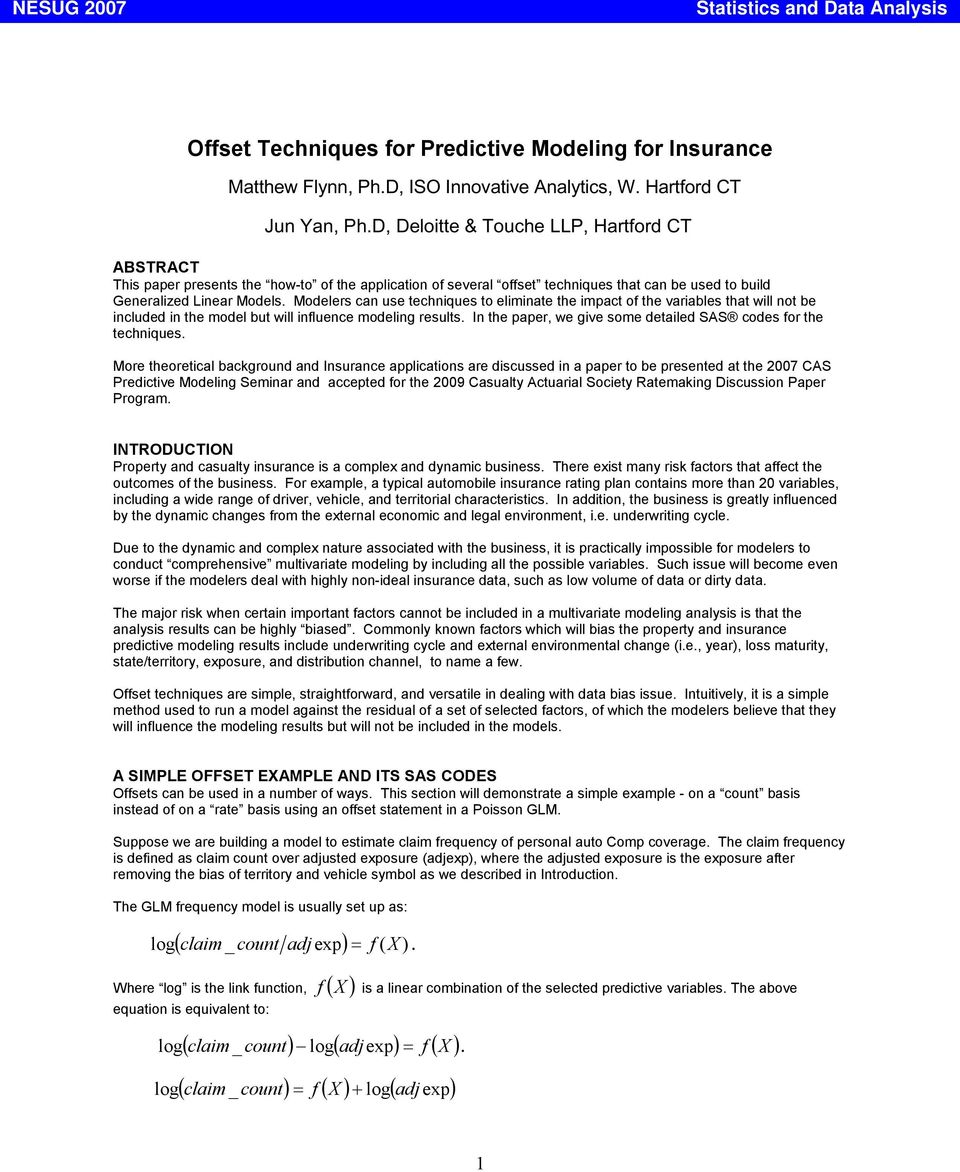 Offset Techniques for Predictive Modeling for Insurance - PDF
