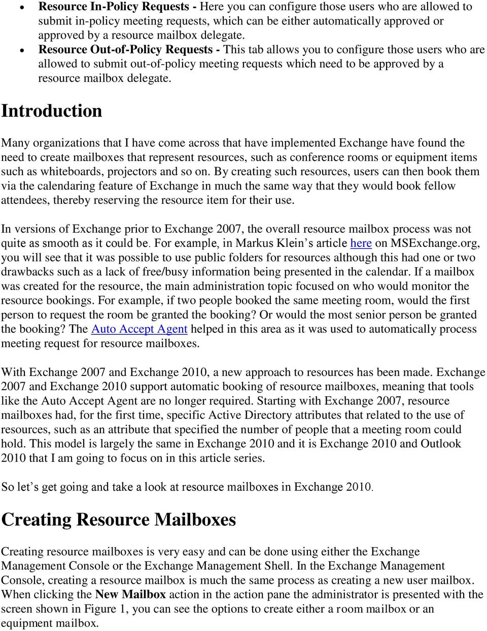 Resource Mailboxes in Exchange PDF