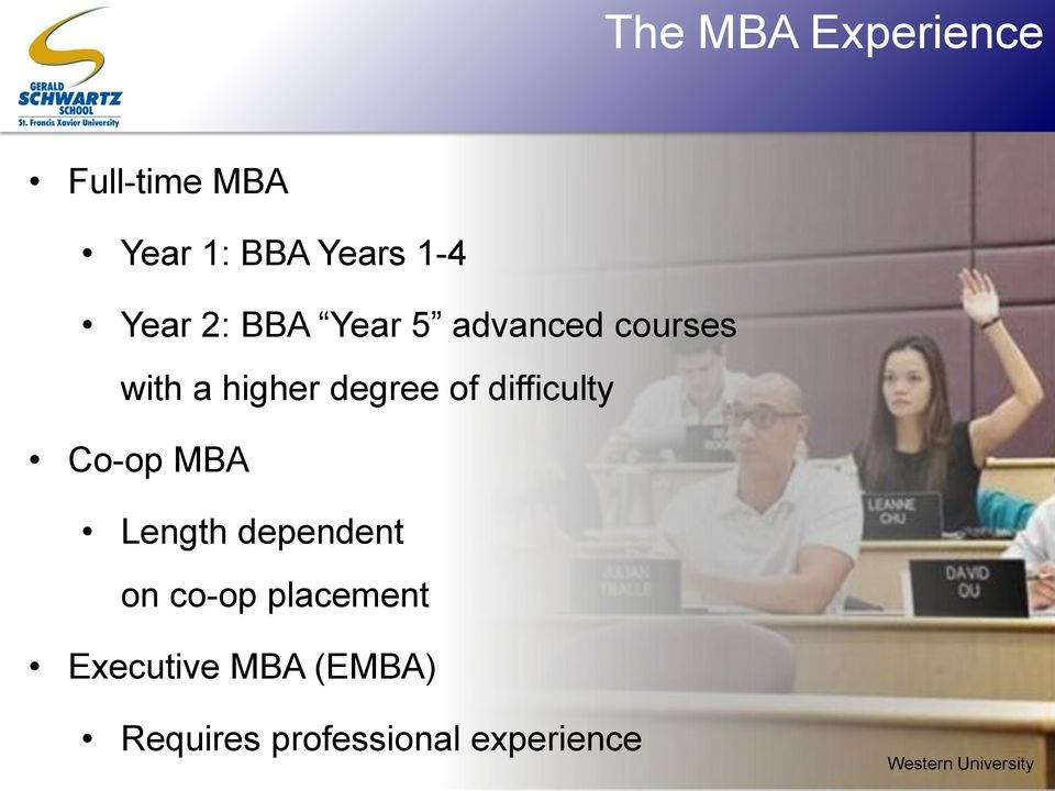 difficulty Co-op MBA Length dependent on co-op placement