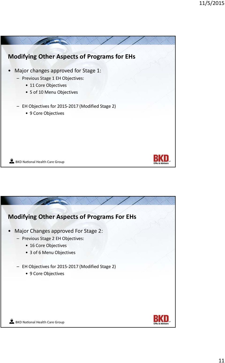 Objectives Modifying Other Aspects of Programs For EHs Major Changes approved For Stage 2: Previous Stage 2 EH