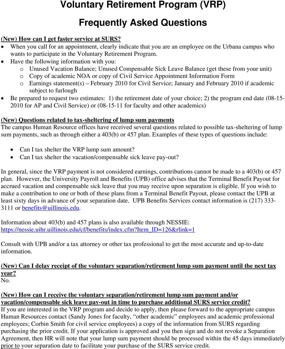 Voluntary Retirement Program (VRP) Frequently Asked