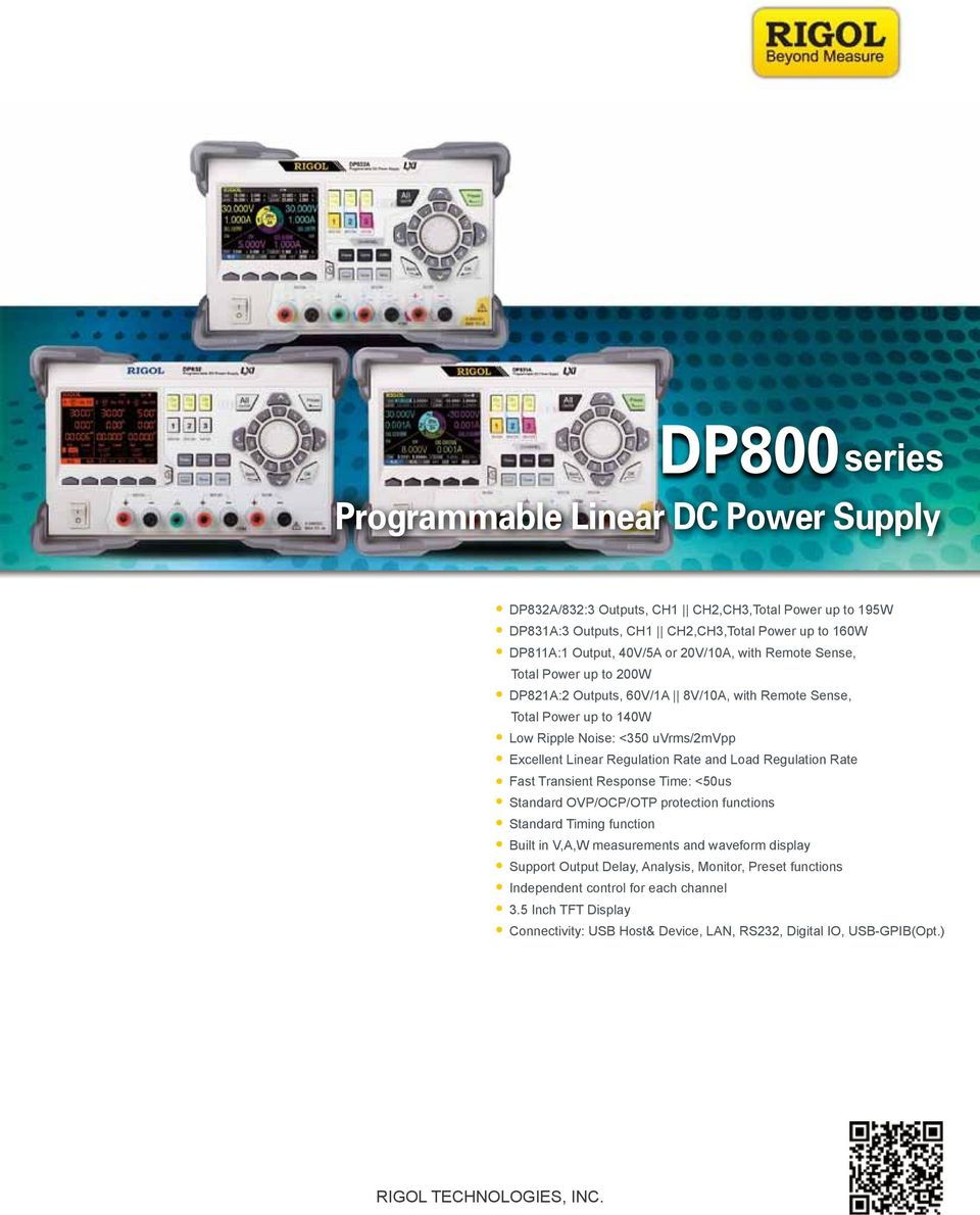 Dp800 Programmable Linear Dc Power Supply Rigol Technologies Inc Fast Response Protection Regulation Rate Transient Time 50us Standard Ovp Ocp Otp