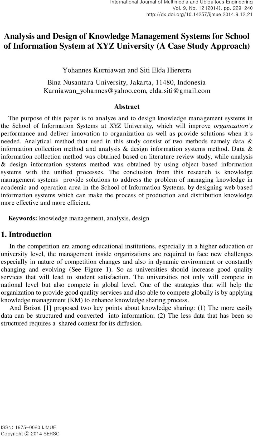 Analysis And Design Of Knowledge Management Systems For School Of Information System At Xyz University A Case Study Approach Pdf Free Download