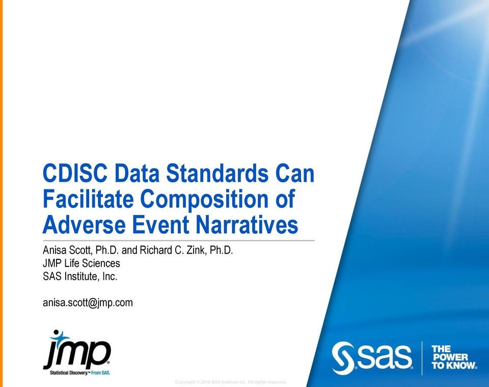 CDISC Data Standards Can Facilitate Composition of Adverse